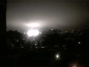 Lights at Fenway Park from my bedroom window in Cambridge