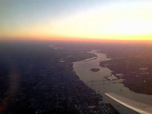 The Commodore Barry Bridge and Southeastern Pennsylvania after a morning takeoff from PHL