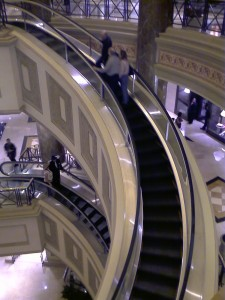 Our band of engineers was fascinated by the spiral escalators