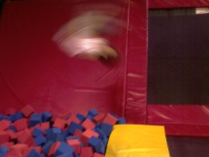 Doing a flip at the Bounce Funplex