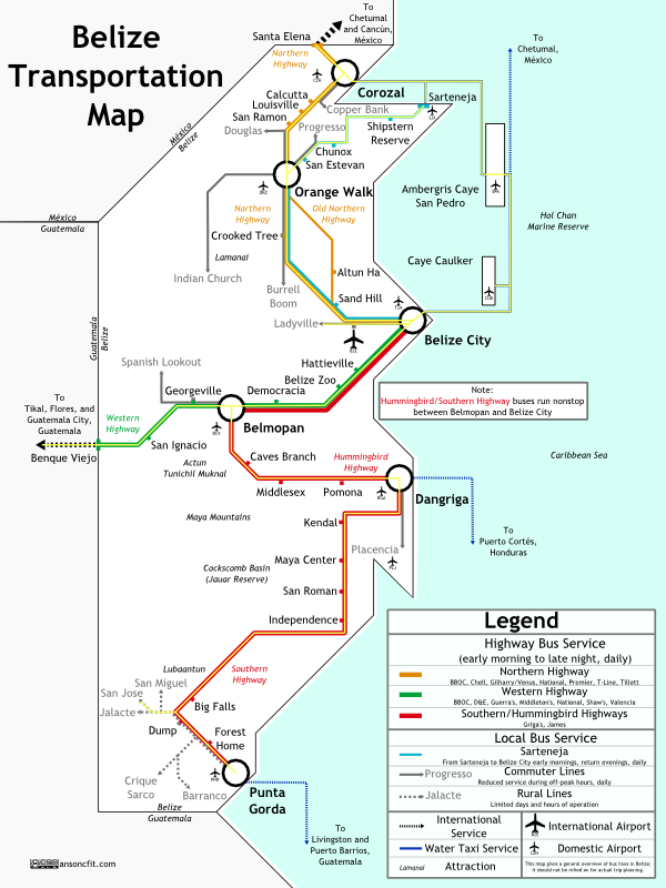 Belize Transit Map