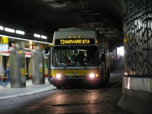 MBTA Route 73 Bus to Mt. Auburn in the Harvard Bus Tunnel