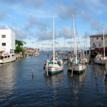 Boats at Belize City's Swing Bridge