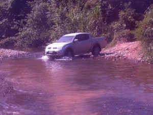 Fording a creek