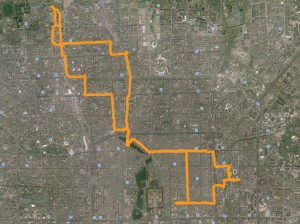 Route of a 30 mile ride through Beijing