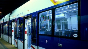 Metro Transit Blue Line Train with holiday lights