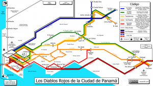 Schematic map of Panama City's bus lines